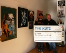P0G0, gallery owner Chris and winner's cheque