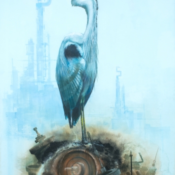 Heron on the Scrap by Andrew Burns Colwill